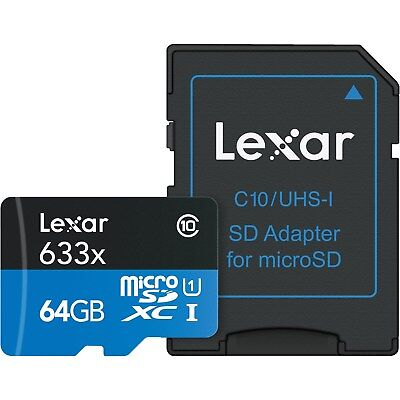 Lexar 64GB micro SDHC 633x Class 10 UHS-I U1 Memory Card with USB 3.0 Reader