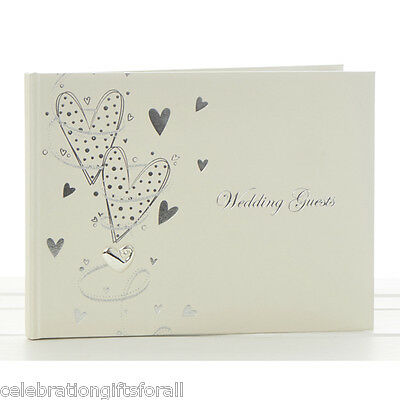 Pearl & Silver Hearts Wedding Guest Book for Bride & Groom - Gift