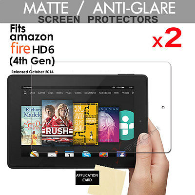 2 x ANTI GLARE MATTE Screen Protector Covers for Amazon Fire HD 6 (HD6) Tablet