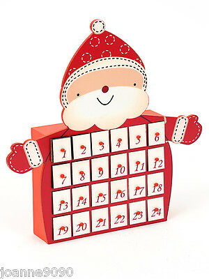 Large Cute Santa Father Christmas Wooden Wood Xmas Advent Calendar With Drawers