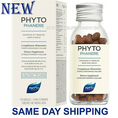 Phyto Phytophanere Hair & Nails Dietary Supplements 120 Caps - 2 Month Supply-