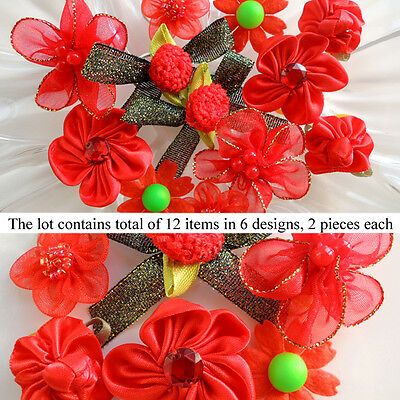 *12 PCS* Red Passion Dog Hair Bow Pet Grooming Accessory in 6  Designs Set #1