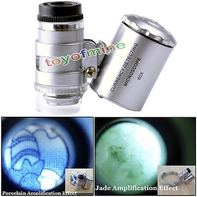 60X Magnifying Magnifier Microscope Jeweler Eye Jewelry Loupe Loop Led Light Len