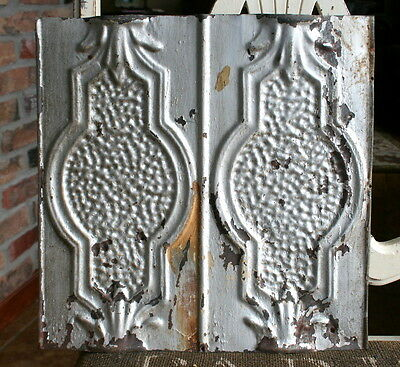 "12"" Antique Tin Ceiling Tile -- Original Silver Colored Paint -- Unusual Design"