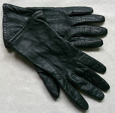 Vintage Womens Leather Thinly Lined Gloves Black 1970's Retro Large Size 8