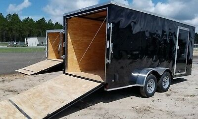 7x16 Enclosed Cargo Trailer V-Nose 18 Tandem Dual 8 Motorcycle Lawn 2016 CALL !!