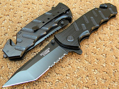 Defender Xtreme Spring Assisted Rescue P/Knife Black Tanto Point Blade 5410