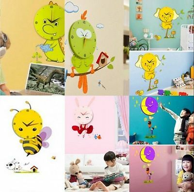 Cartoon Decorate Kid's Room 3D Removeable Wall Sticker with Wall Clock 6 Styles