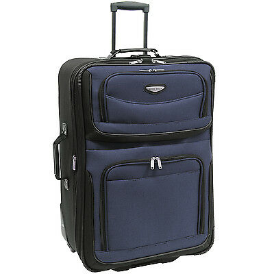 "Traveler Choice Navy Amsterdam 29"" Lightweight Expand Wheel Luggage Suitcase Bag"