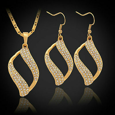 Swarovski Elements Crystal 18k Real Gold Plated Earrings Necklace Jewellery Set
