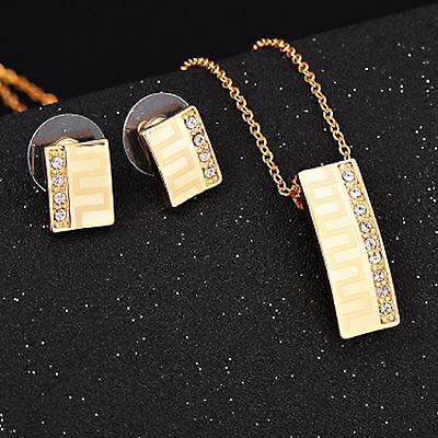 Swarovski Elements Crystal 18ct Gold Plated Earrings Necklace Jewellery Gift Box