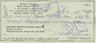 Danny Thomas Hand Signed Check Autographed 1975