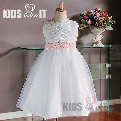12 X Wholesale  Bulk Lots White Flower Girls Lace Crystal Party Dress 2-10Y Pink