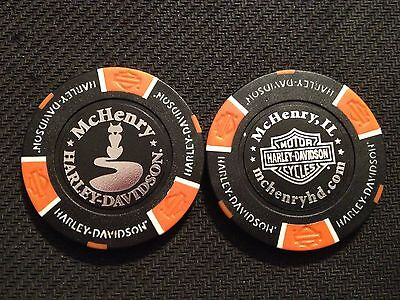 "Harley Davidson Poker Chip (Black & Orange) ""McHenry H-D"" Illinois"