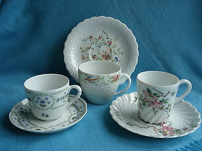 Pretty Selection Limoges Bone China Coffee Cups and Saucers x 3