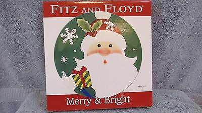 FITZ AND FLOYD MERRY & BRIGHT SANTA CLAUS CANAPE' PLATE NEW IN BOX