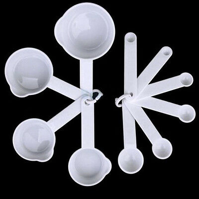 New Set of 11 White Plastic Measuring Cups And Spoons Kitchen Cooking Baking