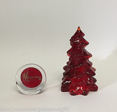 """Mosser Glass 8"""" Solid Glass Christmas Tree Ruby Red New 218R Made in Ohio, USA"""
