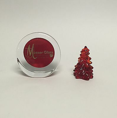 """Mosser Glass 2.75"""" Solid Glass Christmas Tree Red Ruby New 232R Made in Ohio USA"""