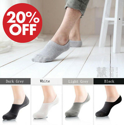 5 Pairs Men Women Invisible Low Cut No Show Socks Cotton Rich No-Slip SOL03/04