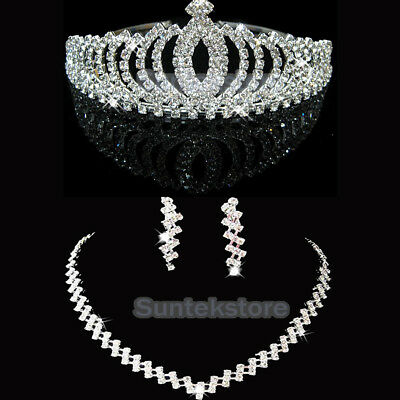 Crystal Rhinestone Crown Veil Tiara Necklace Earrings Bridal Wedding Jewelry Set