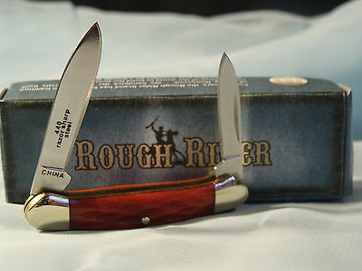 ROUGH RIDER MINIATURE CANOE RED JIGGED KNIFE  RR941