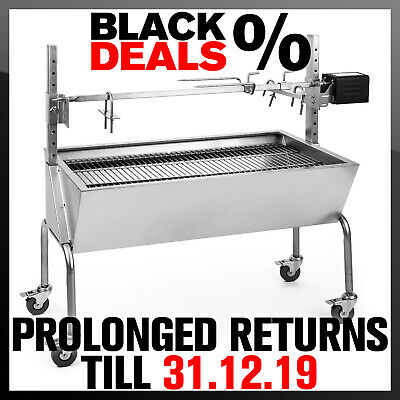 Charcoal Grill BBQ Outdoor Spit Rotisserie Machine Roast Oven Lamb Pig Goat Meat