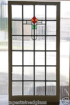 Very Large Tall Antique Stained Glass Window Four Color Art Deco          (2800)