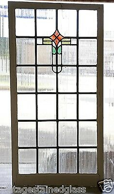 Very Large Tall Antique Stained Glass Window Four Color Art Deco          (2801)