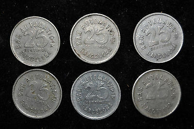 Lote De 6 Monedas Ficha Bar Automatic. Barcelona. 25Cts. 25 Centimos