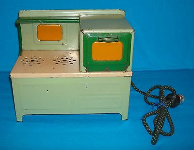 1930's Child's Green & Cream Electric Metal Toy Stove
