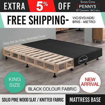 Bed Frame Headboard Upholstered Fabric Button Studded King Charcoal Bedhead Sean