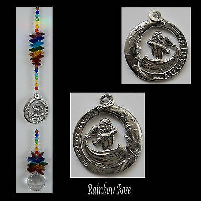 ZODIAC CHAKRA Crystal Suncatcher AQUARIUS Jan 20 - Feb 18 Pewter Star Sign 40mm