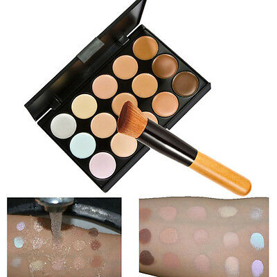 Waterproof 15 Colors Contour Face Cream Makeup Concealer Palette + Brush Set 63#