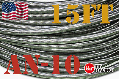"9/16"" STAINLESS STEEL BRAIDED 1000 PSI -10AN AN10 10-AN OIL FUEL LINE HOSE 15FT"