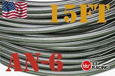 "5/16"" STAINLESS STEEL BRAIDED 1000 PSI -6AN AN6 6-AN OIL FUEL LINE HOSE 15FT"
