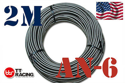 "3/8"" STAINLESS STEEL BRAIDED -6AN AN6 6-AN OIL FUEL LINE HOSE 2M Meter 6.6FT"