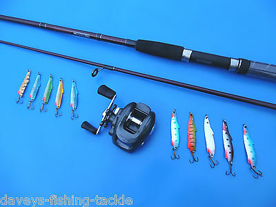 Pike Fishing Kit Rod+Gs 300 L-Hand Baitcaster Reel 10 Spoons Spinning Tackle Set