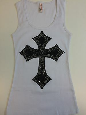 RHINESTONE PATCH GOLD  CROSS TANK TOP SHIRT  SIZE S,M,L,XL,2XL,3XL FREE SHIPING