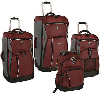 TIMBERLAND DANVERS RIVER CHOCOLATE TRUFFLE /GREY 4 PC LUGGAGE SET $1340 VALUE