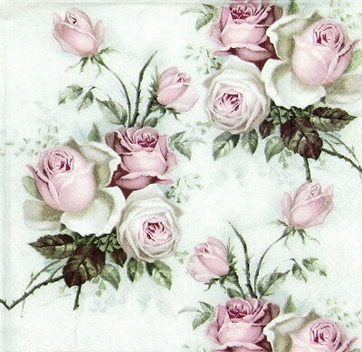 4x Vintage Rose Bouquet Paper Napkins for Decoupage Craft