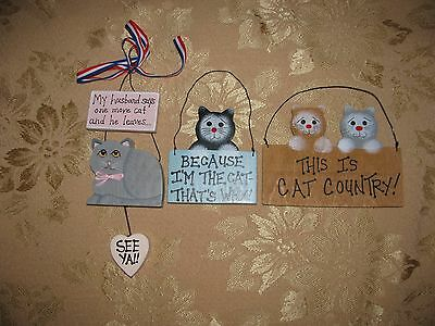 SET OF 3 WOODEN CAT SIGNS