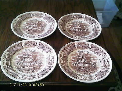 A Nice Set of Four Alfred Meakin Fair Winds Brown Dinner Plates