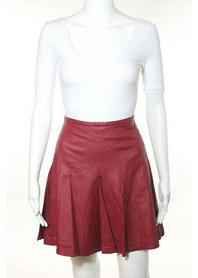 W118 BY WALTER BAKER Dark Red Faux Leather Above Knee A-Line Skirt Sz L