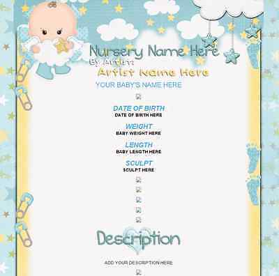 IT'S A BOY Reborn Baby eBay Auction Listing Template Nursery & Artist name blue