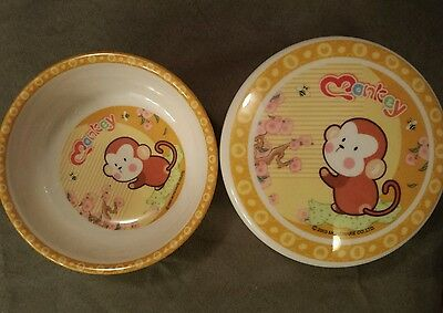 """MOREWARE 2003 MELAMINE CHILDS BOWL AND BOWL WITH LID """"MONKEY"""" PATTERN"""