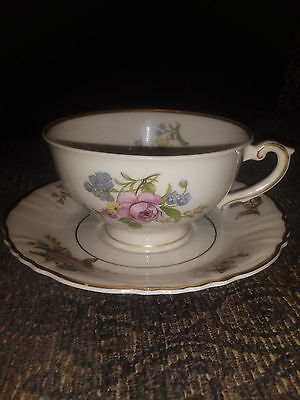 SYRACUSE CHINA Federal Shape Pedestal Tea  cup and Saucer Rose with Gold trim
