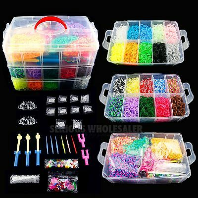 14000× Colorful Rainbow Rubber Bracelet Loom Bands Making Kit Set Fun DIY