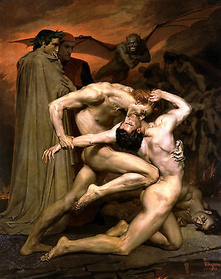 Dante & Virgil in Hell by William Bouguereau Large A3 Size Picture Poster Print