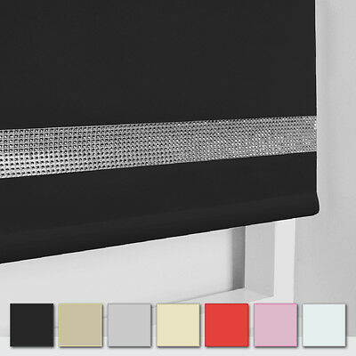 Diamante Trim Straight Edge Roller Blinds - Diamante Border Blind